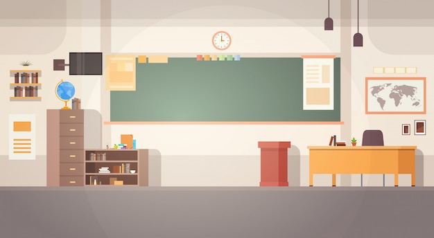 School classroom interior board desk banner Premium Vector