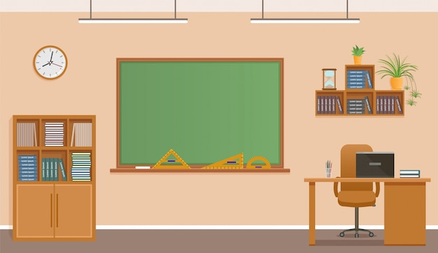 School classroom with chalkboard, clock and teacher's desk. school class room interior design.