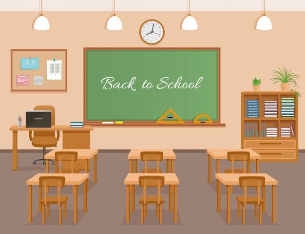 School classroom with chalkboard, student desks and teacher's workplace. school class room interior design Premium Vector