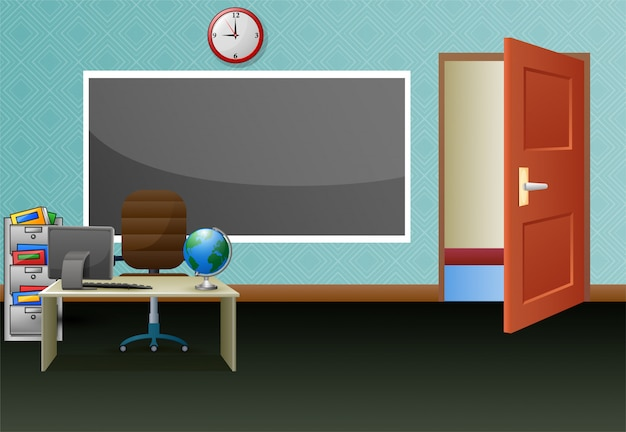 School classroom with chalkboard and teachers desk Premium Vector