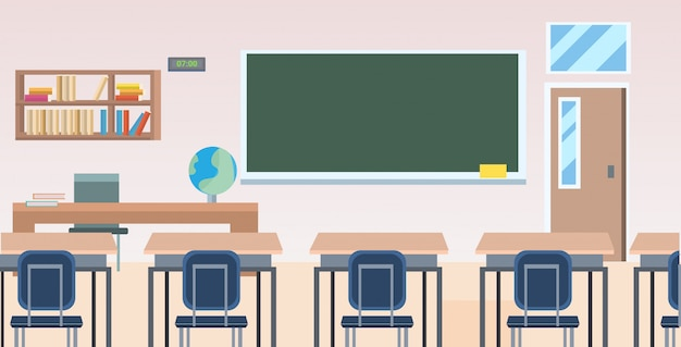 School classroom with furniture board desk empty no people class room interior  horizontal Premium Vector