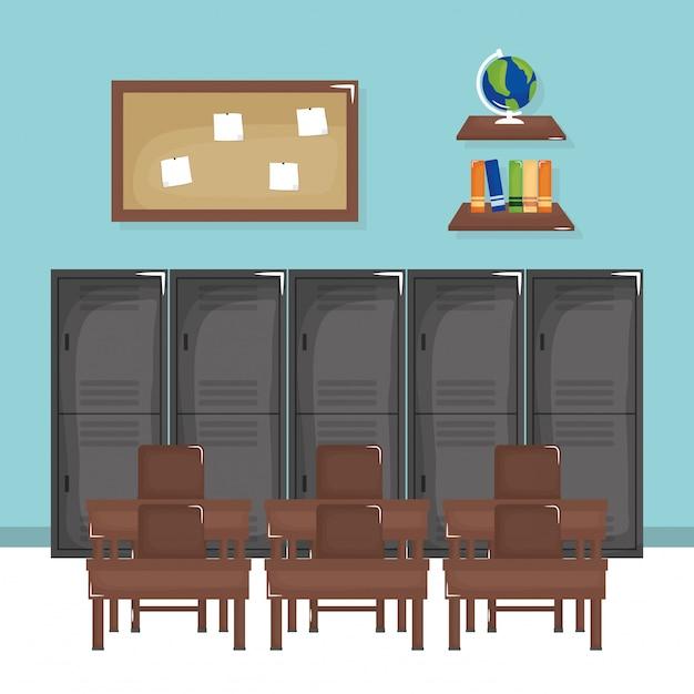 School classroom with schooldesks scene Free Vector