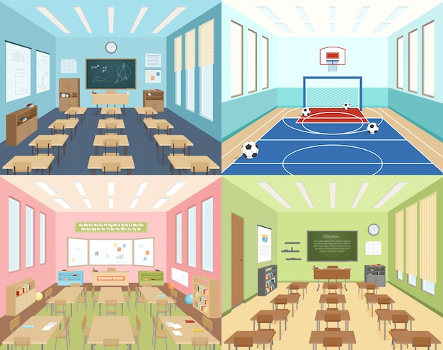 School classrooms and sportroom Free Vector