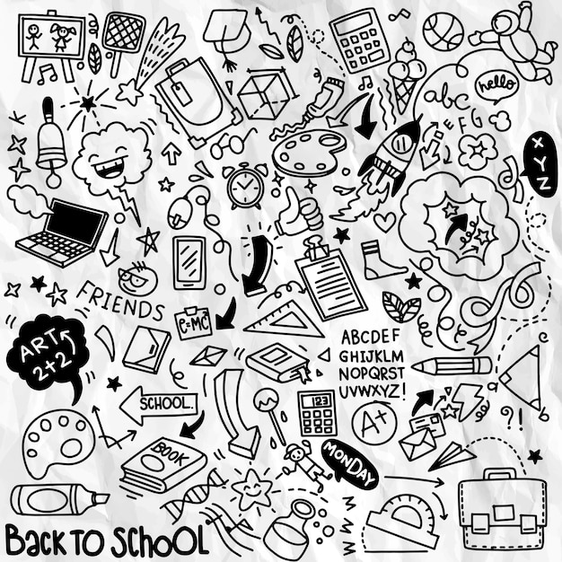 School clipart.  doodle school icons and symbols. hand drawn stadying education objects Premium Vector