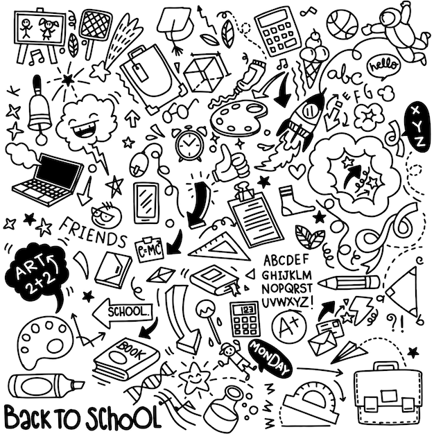 School clipart. vector doodle school elements and supplies. hand drawn studying education objects Premium Vector