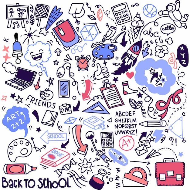 学校のクリップアート。ベクトル落書き学校のアイコンと記号。手描きの研究教育オブジェクト Premiumベクター