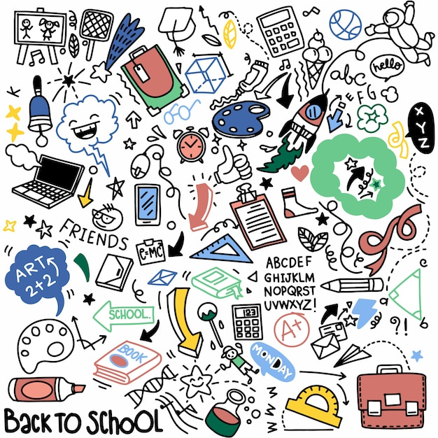 School clipart. vector doodle school supplies and elements. hand drawn studying education objects Premium Vector