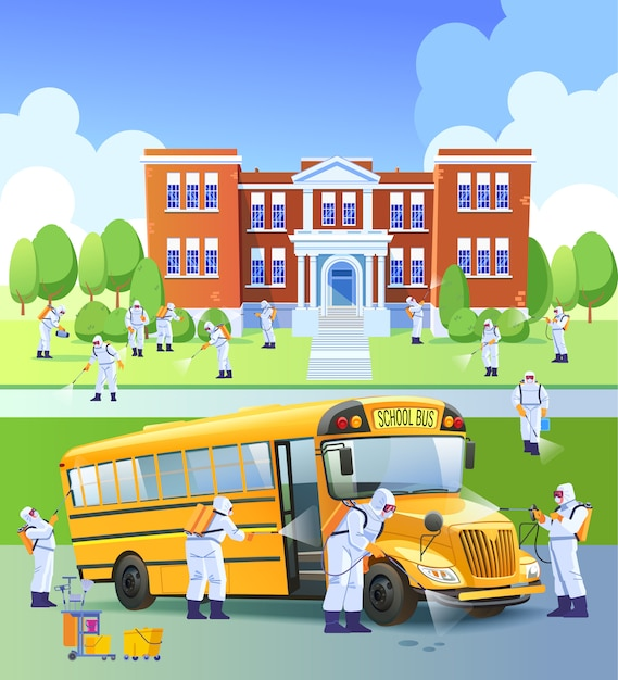 School closed, quarantine. workers sprays disinfectant as part of preventive measures against the spread of the covid-19 or novel coronavirus, in a school and school bus. cartoon illustration Premium Vector