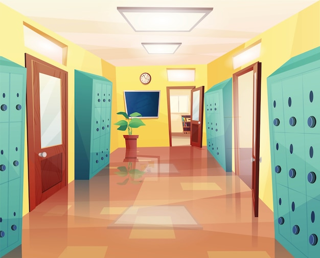 School, college hallway with open and closed doors, clock on the wall, storage lockers, notice board. cartoon  for kids game or web. Premium Vector