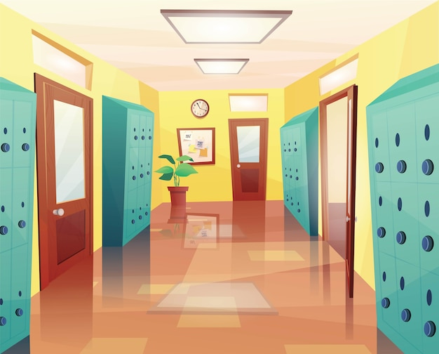 School, college hallway with open and closed doors, storage lockers, notice board. Premium Vector