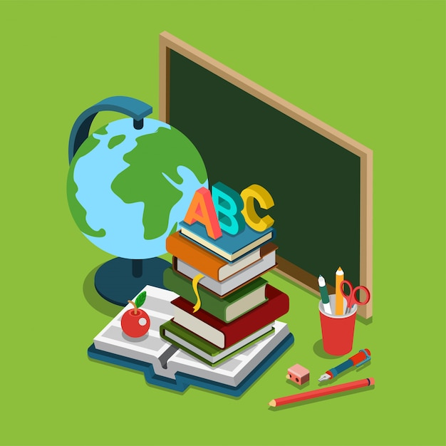 School college university education isometric concept Free Vector