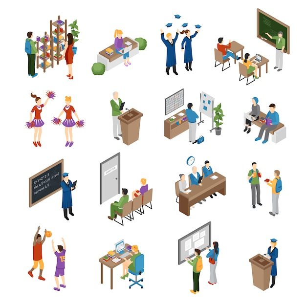 School college university isometric set Free Vector
