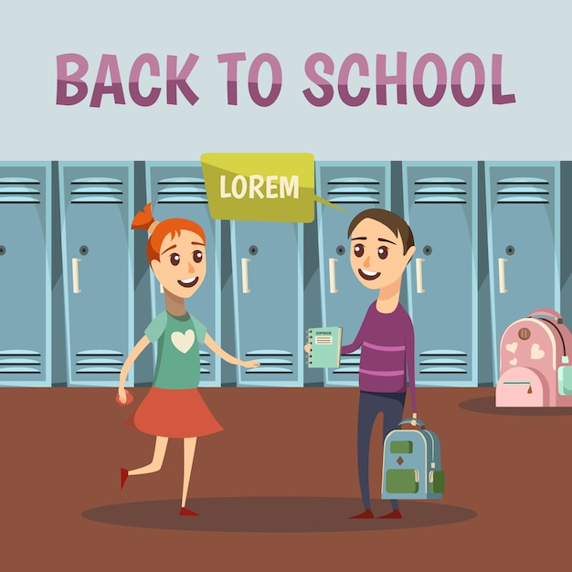 School colored orthogonal background Free Vector