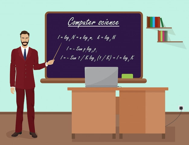 School computer science male teacher Premium Vector