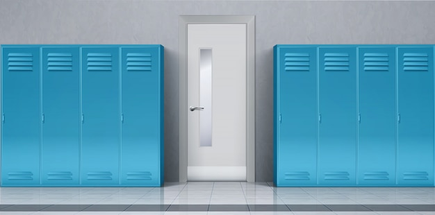Школьный коридор с синими шкафчиками и закрытой дверью Бесплатные векторы