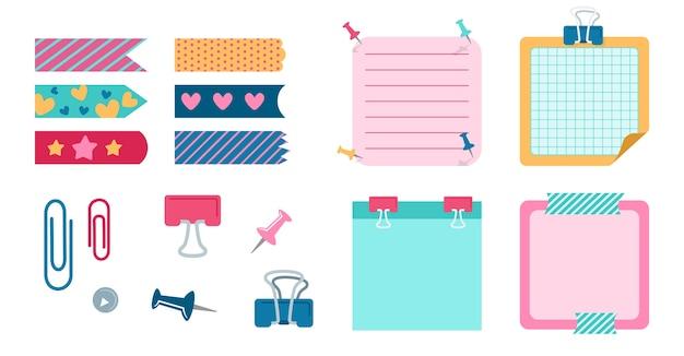 Элементы дизайна школы для ноутбука, дневника. набор канцелярских принадлежностей для планирования элементов офиса. блокнот со скрепкой, прищепкой, скотчем, набором полосок. пустые заметки-памятки. Premium векторы