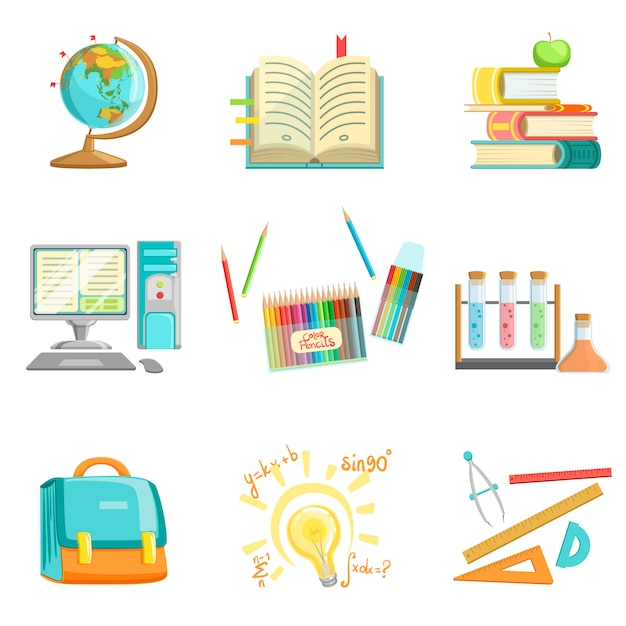 学校教育と研究関連イラスト Premiumベクター
