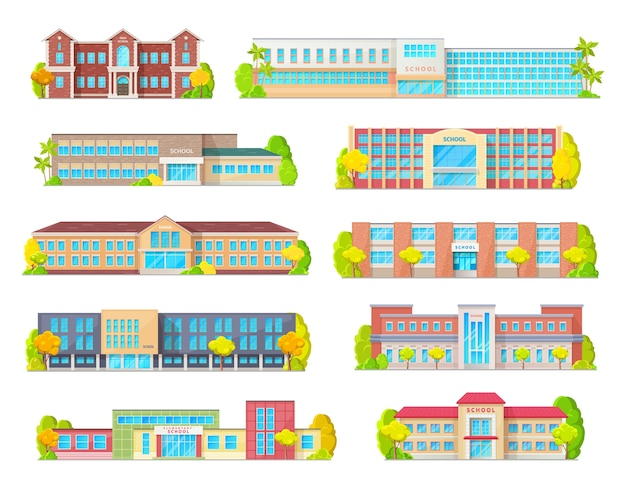 School education building isolated icons with primary, junior, elementary or grade school exteriors with front doors, windows and porches, street and trees. educational architecture themes Premium Vector