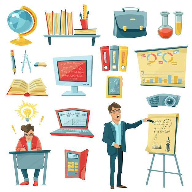 School education decorative icons set Free Vector