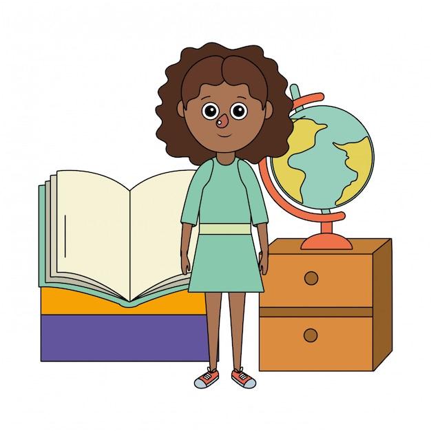 School education girl cartoon Premium Vector