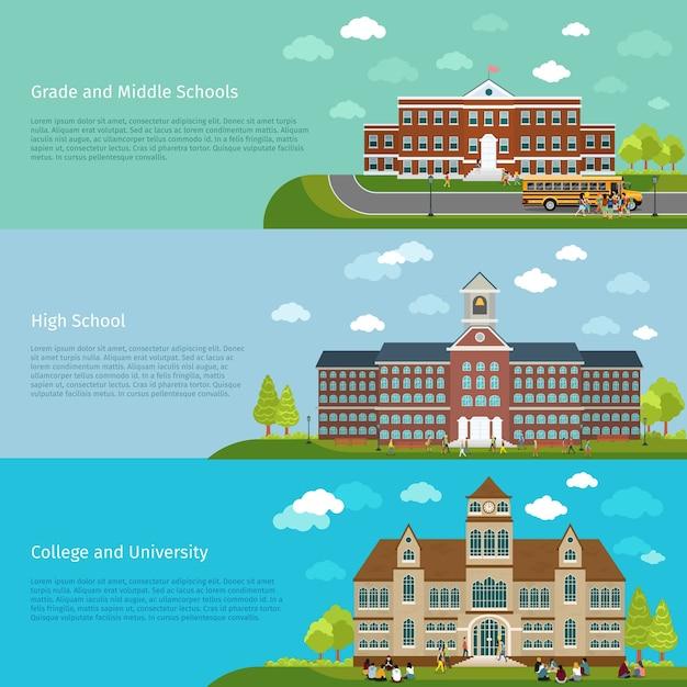 学校教育、高校および大学の研究バナー。学生とキャンパス、卒業と建築建設の建物、 無料ベクター