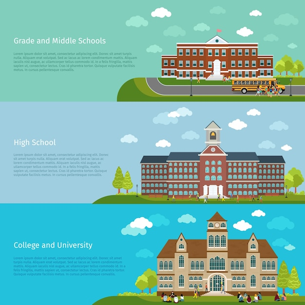 School education, high school and university study banners. student and campus, graduation and architecture construction building, Free Vector