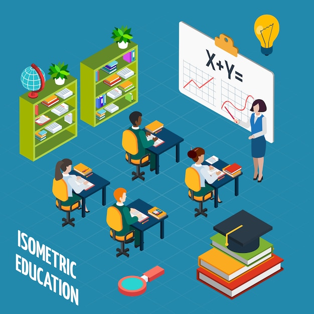 School education  isometric concept Free Vector