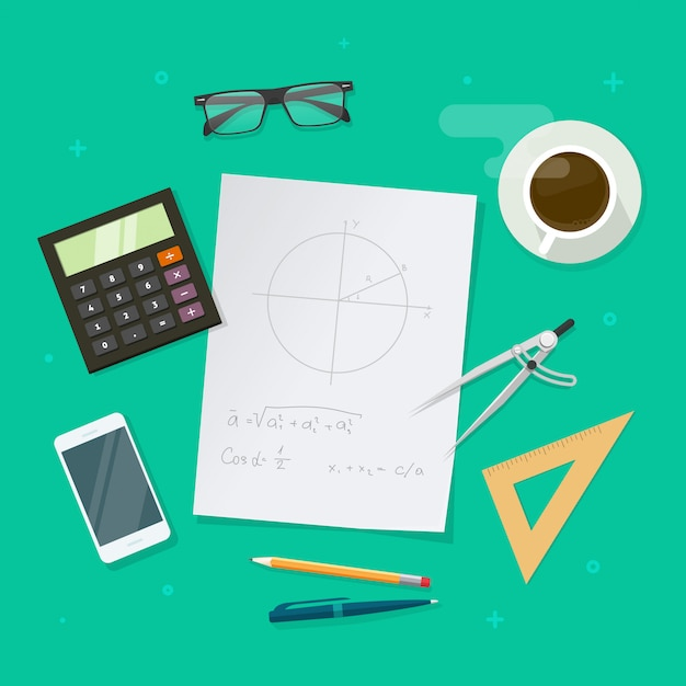 School education lesson table or maths study desktop concept in flat cartoon design Premium Vector