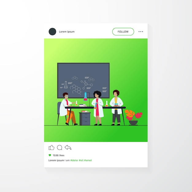 School education and science concept. teacher watching children doing practical chemical experiment in lab, using glass tubes and chalkboard Free Vector
