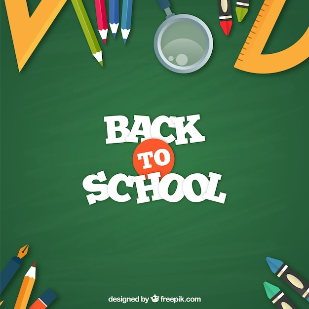 School elements background in flat style Free Vector