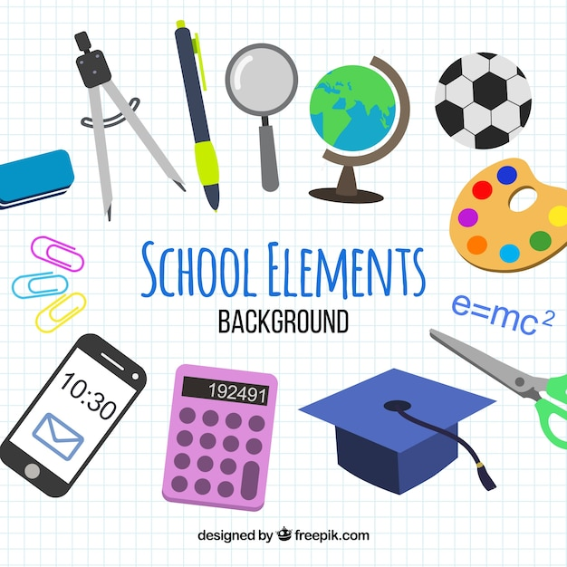 School elements background with education\ supplies