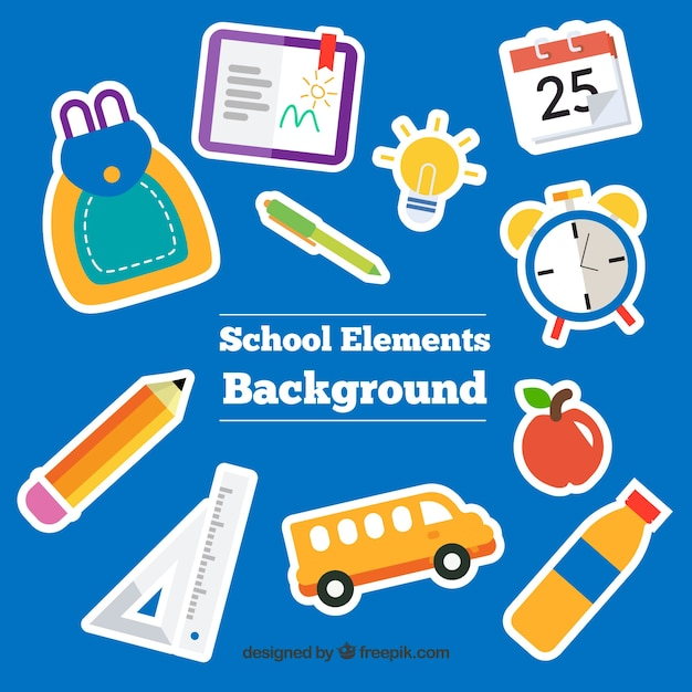 School elements background with education supplies | Free ...