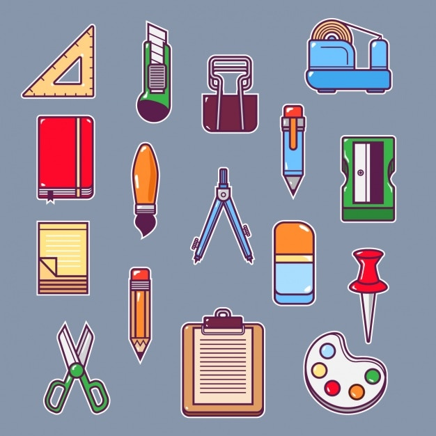 School elements collection Free Vector
