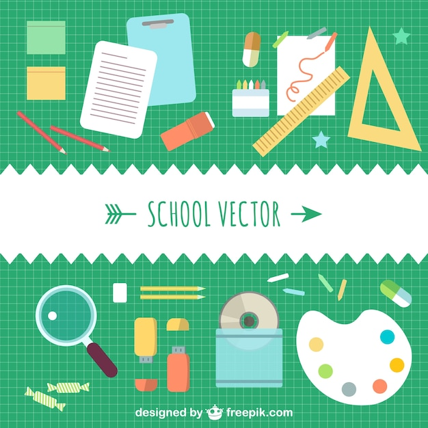 School Elements Collection Vector Free Download