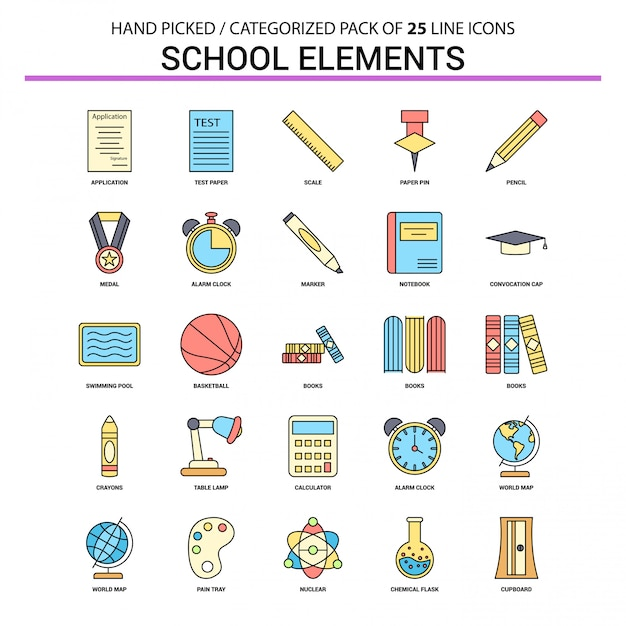 School elements flat line icon set Free Vector