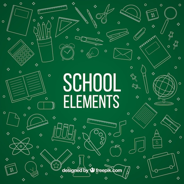 School elements in chalkboard style Free Vector