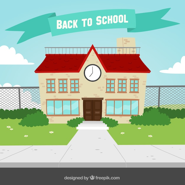 School facade background in flat design Free Vector