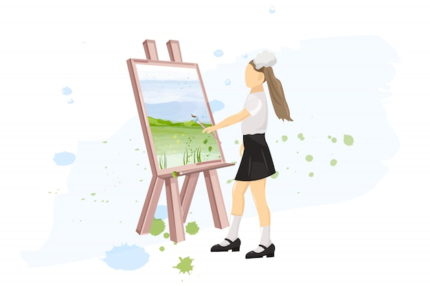School girl painting creativity lesson flat style. back to schools Premium Vector