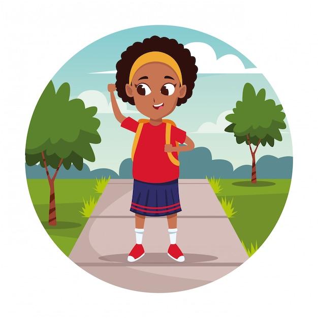 School girl with backpack cartoon Free Vector