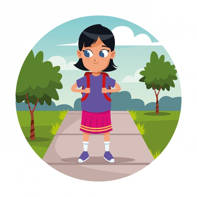School girl with backpack cartoon Free Vector