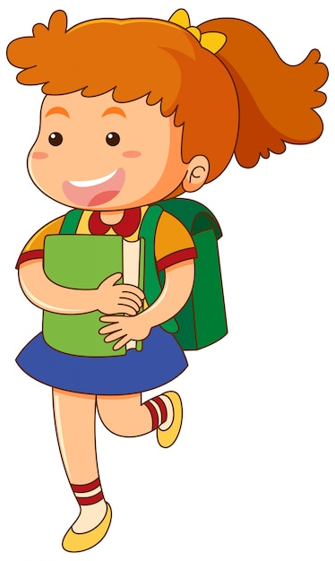 School girl with book and schoolbag Free Vector