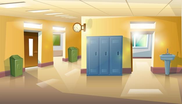 Школьный зал с дверями, классами, мусором и раковиной. Premium векторы
