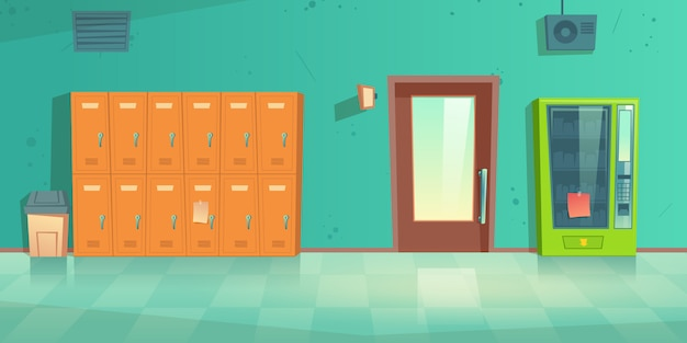 School hallway empty interior with metal lockers Free Vector