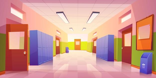 Интерьер школьной прихожей с дверями и шкафчиками Бесплатные векторы