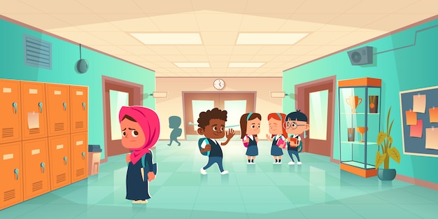 School hallway with kids different nationalities Free Vector