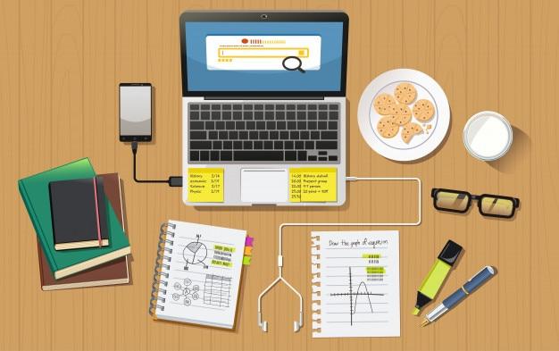 School Homework Desk Top View Concept Premium Vector