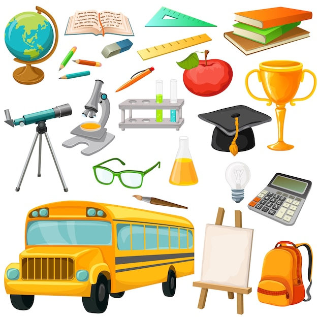 School icon set with isolated pic of bus school supplies and stationery vector illustration Free Vector
