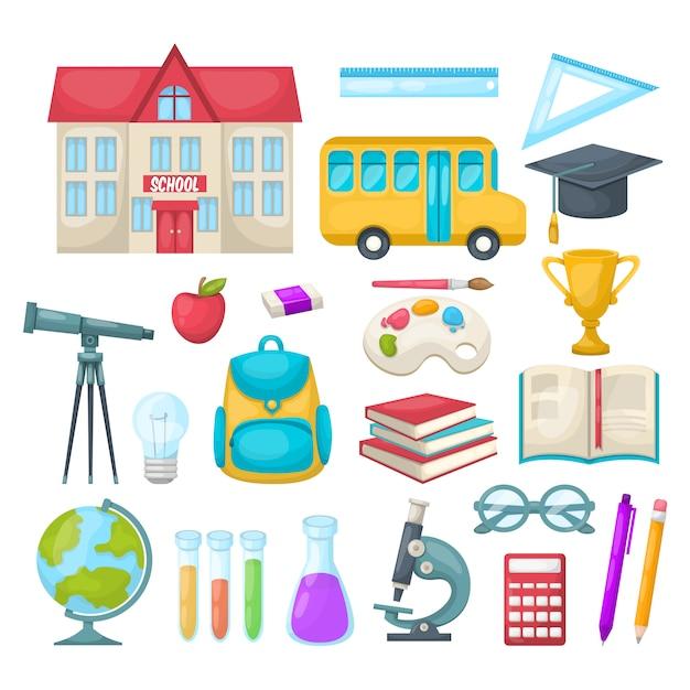 Set di icone di scuola Vettore gratuito