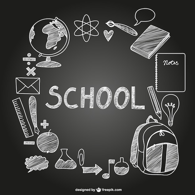 School icons on chalkboard Free Vector