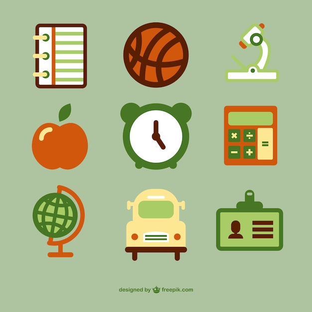 School icons collection Free Vector